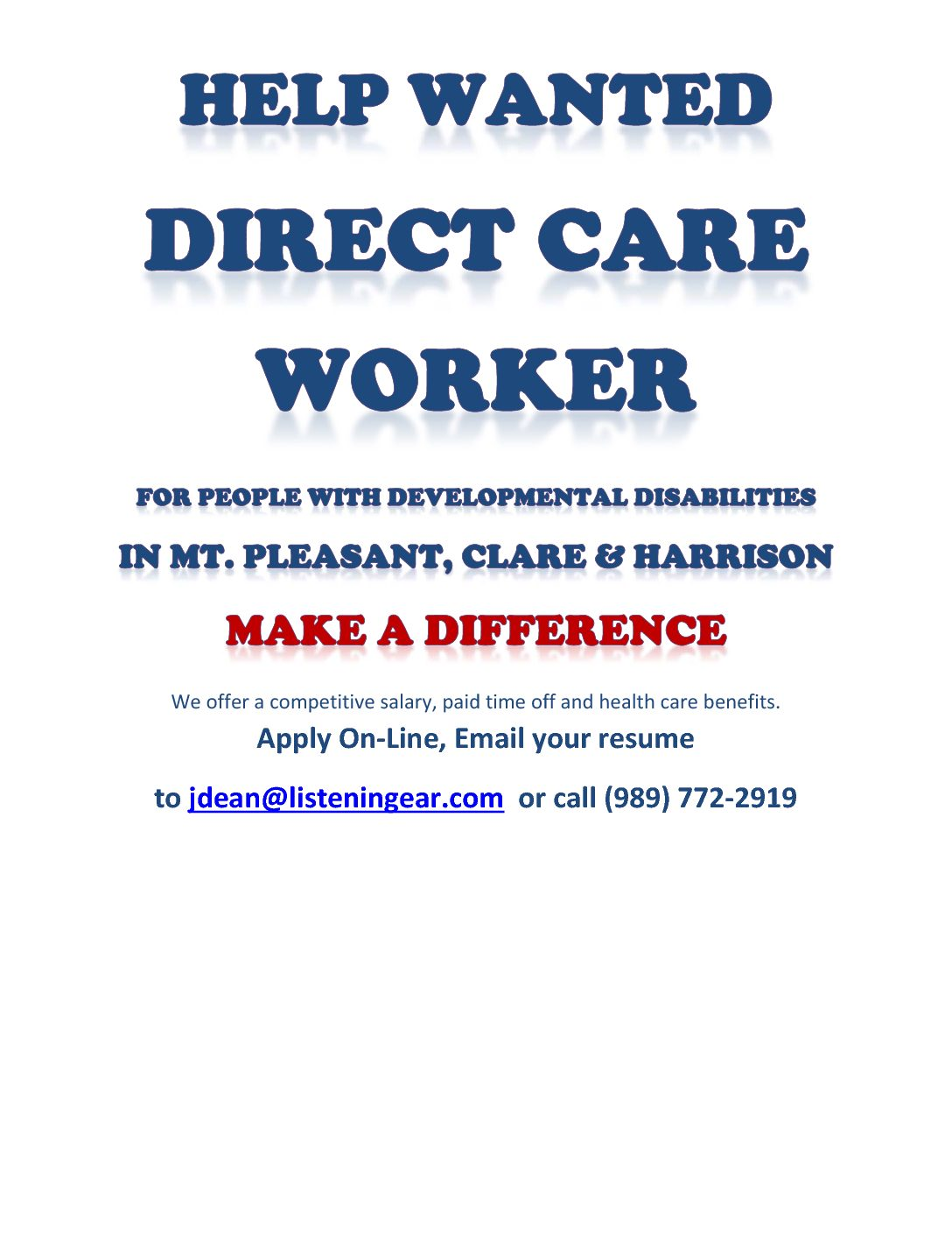 Listening ear where help begins and dreams are possible direct care workers needed fandeluxe Images